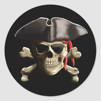 The Jolly Roger Pirate Skull Classic Round Sticker