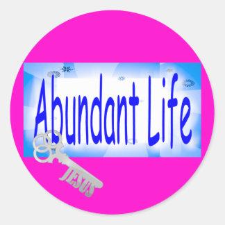 The Key to Abundant Life v2 (John 10:10) Round Sticker