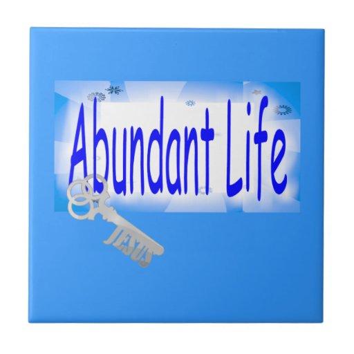 The Key to Abundant Life v2 (John 10:10) Ceramic Tiles