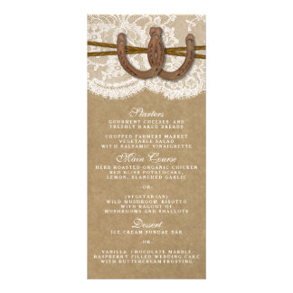 The Kraft, Lace & Horseshoe Collection Menu Card Full Color Rack Card