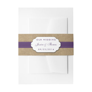 The Kraft, Lace & Sunflower Collection - Purple Invitation Belly Band