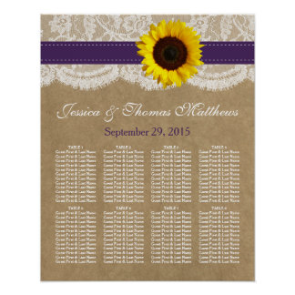 The Kraft, Lace & Sunflower Collection - Purple Poster