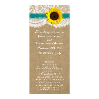 The Kraft, Lace & Sunflower Collection - Teal Rack Cards