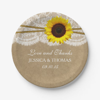 The Kraft, Lace & Sunflower Wedding Collection 7 Inch Paper Plate