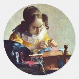 The Lacemaker, Français La Dentelière,  By Vermeer Classic Round Sticker