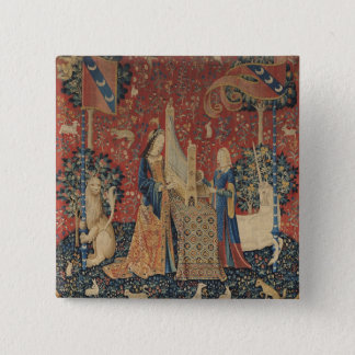 The Lady and the Unicorn: 'Hearing' 15 Cm Square Badge