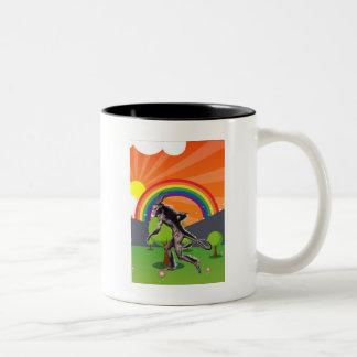 The Lamia Visits Happy Land Two-Tone Coffee Mug
