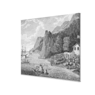 The Launch of the North West America at Nootka Sou Canvas Print