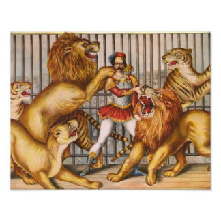 The Lion Tamer Vintage Circus Poster