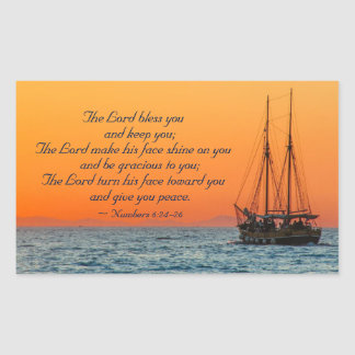 The Lord Bless You, Numbers 6:24-26, Ship at Sea Rectangular Sticker