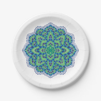 The Mandala-Cool Emerald Paper Plate