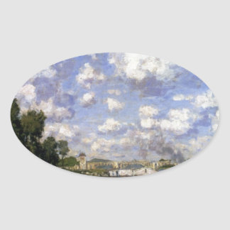 The Marina at Argenteuil by Claude Monet Oval Sticker