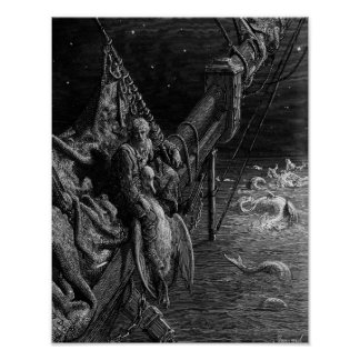 The Mariner gazes on the serpents in the ocean Posters