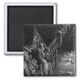The Mariner gazes on the serpents in the ocean Square Magnet
