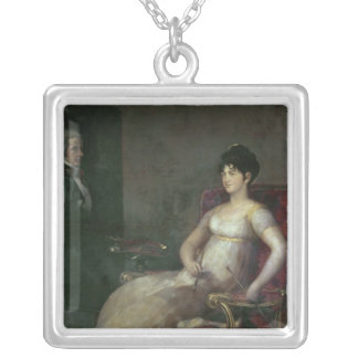 The Marquesa de Villafranca Painting her Husband Silver Plated Necklace