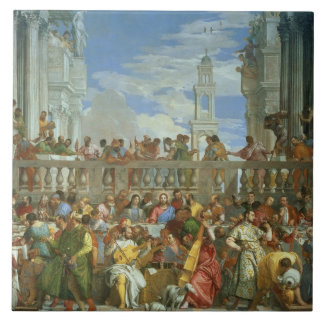 The Marriage Feast at Cana, c.1562 (oil on canvas) Large Square Tile