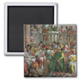 The Marriage Feast at Cana, detail of banqueting t Square Magnet