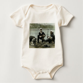 The Mascots Vintage WWII Sailor Rooster Pig Baby Bodysuit