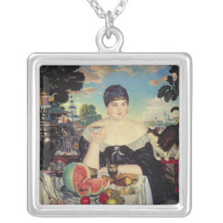 The Merchant's Wife at Tea, 1918 Silver Plated Necklace