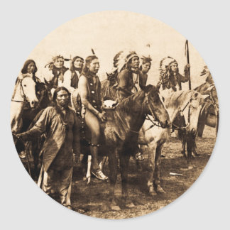 The Mighty Sioux Vintage Native American Warriors Classic Round Sticker