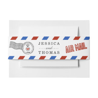 The Modern Airmail Wedding Collection Invitation Belly Band