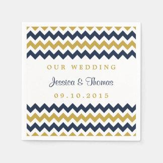 The Modern Chevron Wedding Collection Navy & Gold Paper Napkins