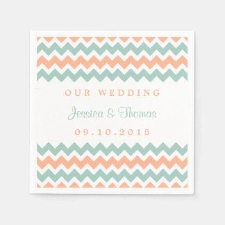 The Modern Chevron Wedding Collection Peach & Mint Disposable Napkins