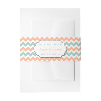 The Modern Chevron Wedding Collection Peach & Mint Invitation Belly Band