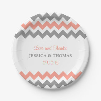 The Modern Chevron Wedding Collection- Pink & Grey Paper Plate