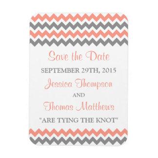 The Modern Chevron Wedding Collection- Pink & Grey Rectangular Photo Magnet