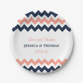 The Modern Chevron Wedding Collection- Pink & Navy 7 Inch Paper Plate