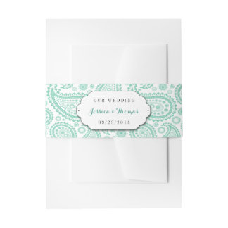 The Modern Paisley Wedding Collection - Green Invitation Belly Band