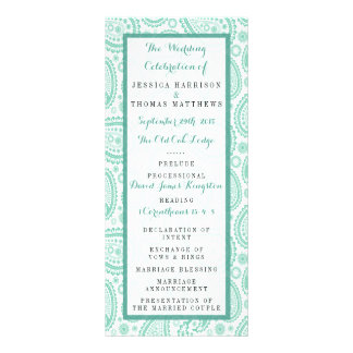 The Modern Paisley Wedding Collection - Green Rack Card Design