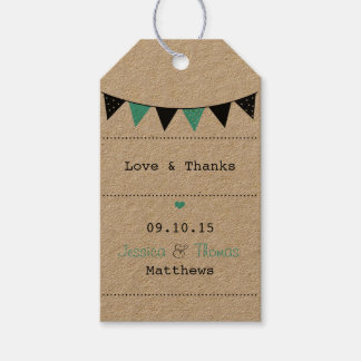 The Modern Turquoise Bunting Wedding Collection Gift Tags