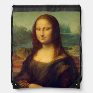 The Mona Lisa By Leonardo Da Vinci Drawstring Bag