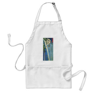 The Moon over a Waterfall circa 1800's. Japan. Adult Apron