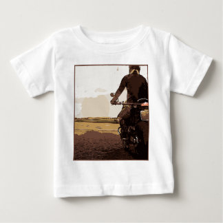 The motorcyclist, a biker on the road. baby T-Shirt