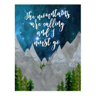 the mountains are calling typography postcard