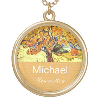The Mulberry Tree groom or bride wedding necklace. Gold Plated Necklace