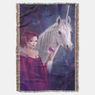 The Mystic Unicorn Art Throw Blanket