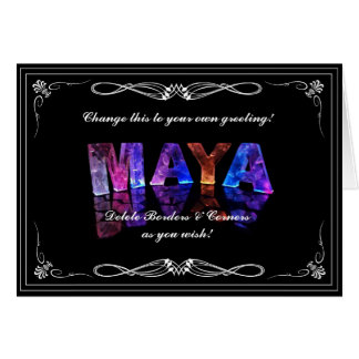The Name Maya in 3D Lights (Photograph) Card