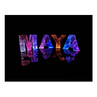The Name Maya in 3D Lights (Photograph) Postcard