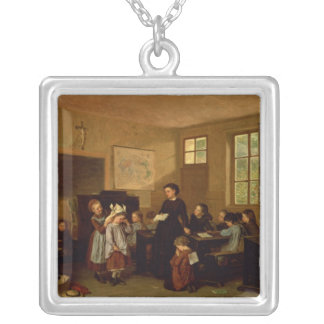 The naughty school children silver plated necklace