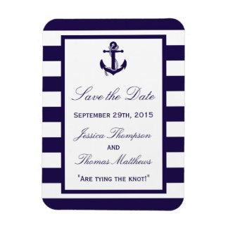 The Nautical Anchor Navy Stripe Wedding Collection Rectangular Photo Magnet