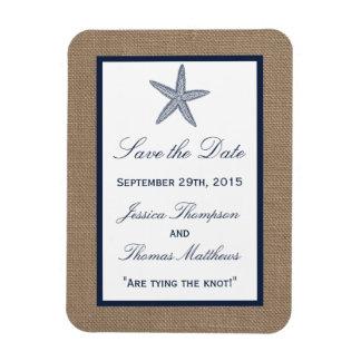 The Navy Starfish Burlap Beach Wedding Collection Magnet