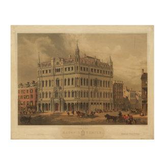 The New Masonic Temple - Boston 1855 Wood Canvas