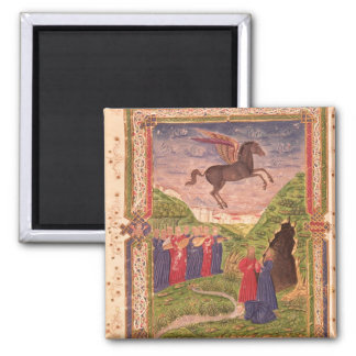 The nine Muses playing instruments Square Magnet