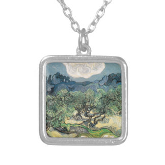 The Olive Trees, Vincent van Gogh Silver Plated Necklace