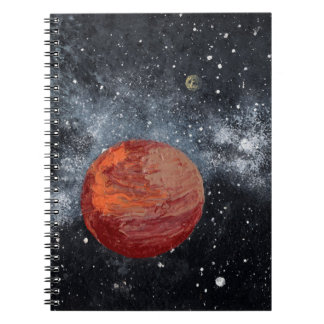 THE ORANGE PLANET an outer space design Spiral Note Book