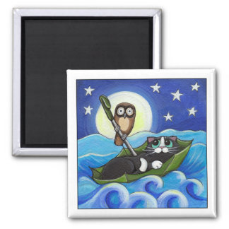 The Owl and the Pussycat | Whimsical Cat Art Magnet